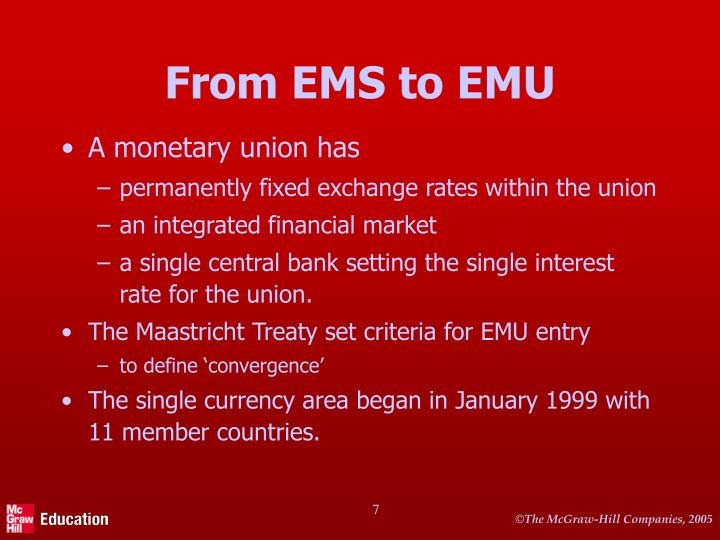From EMS to EMU