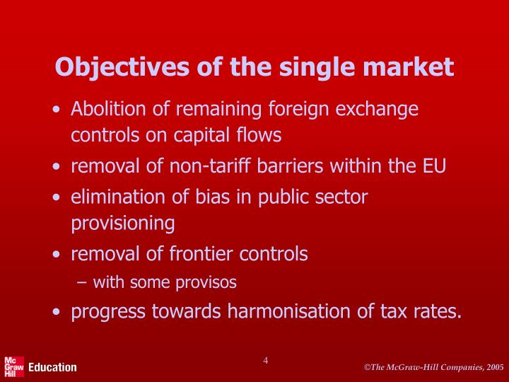 Objectives of the single market