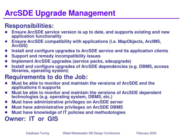 ArcSDE Upgrade Management
