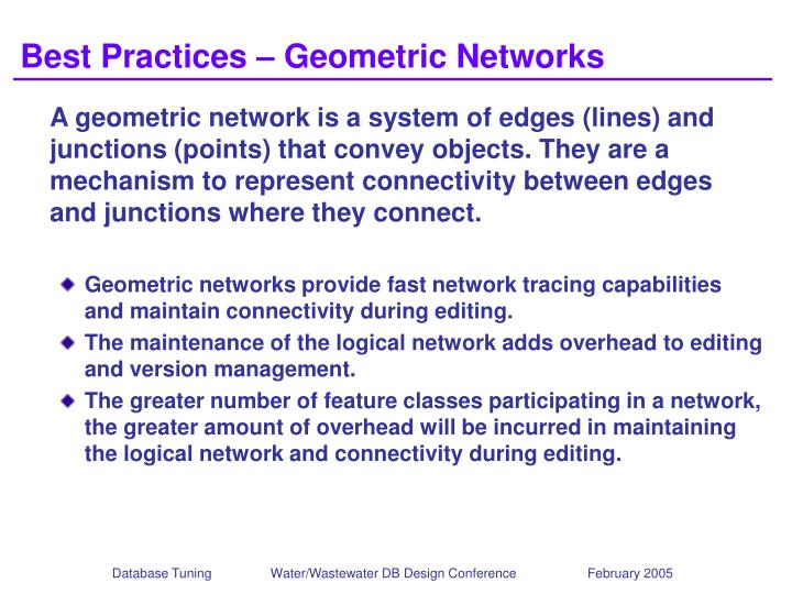 Best Practices – Geometric Networks