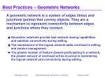best practices geometric networks