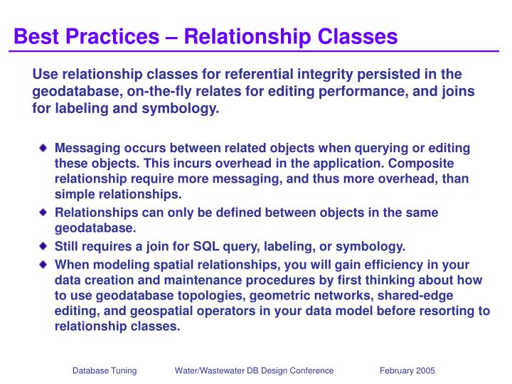 Best Practices – Relationship Classes