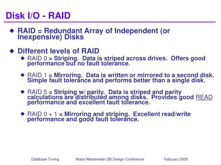 Disk I/O - RAID
