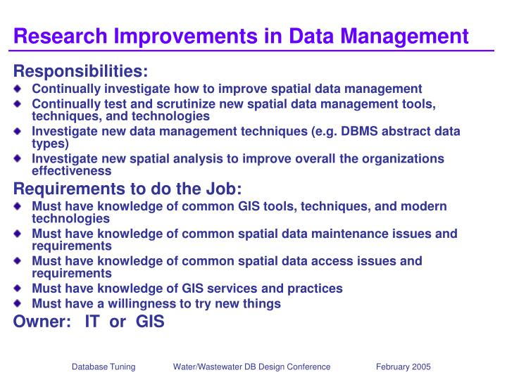 Research Improvements in Data Management