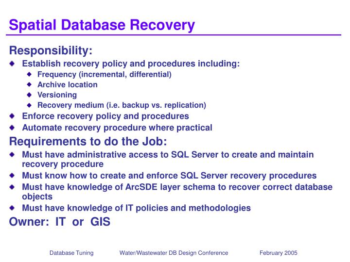 Spatial Database Recovery