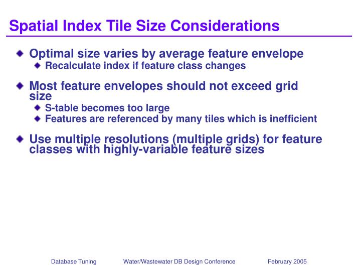 Spatial Index Tile Size Considerations