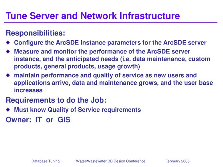 Tune Server and Network Infrastructure