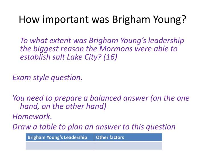 How important was Brigham Young?