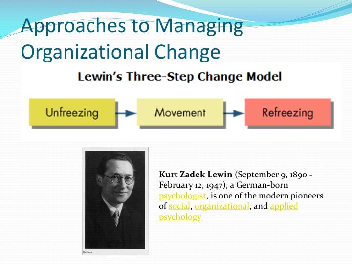 Approaches to Managing Organizational Change