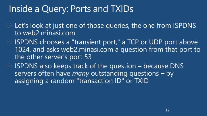 Inside a Query: Ports and TXIDs