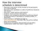 how the interview schedule is determined