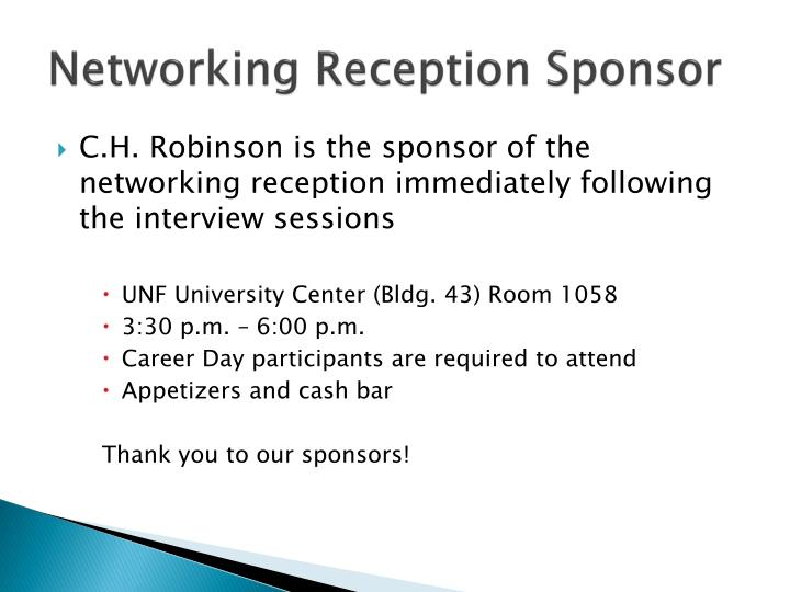 Networking Reception Sponsor