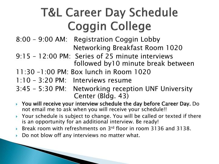 T&L Career Day Schedule