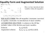 equality form and augmented solution