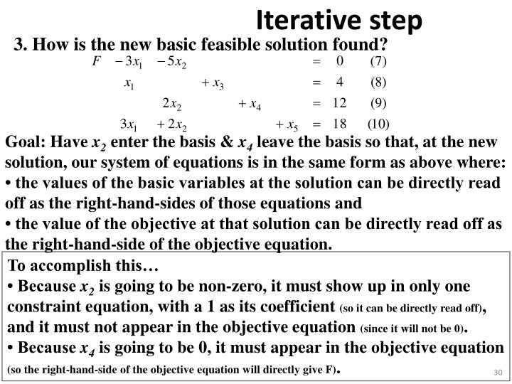 3. How is the new basic feasible solution found?