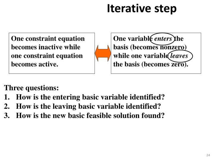 One constraint equation becomes inactive while one constraint equation becomes active.