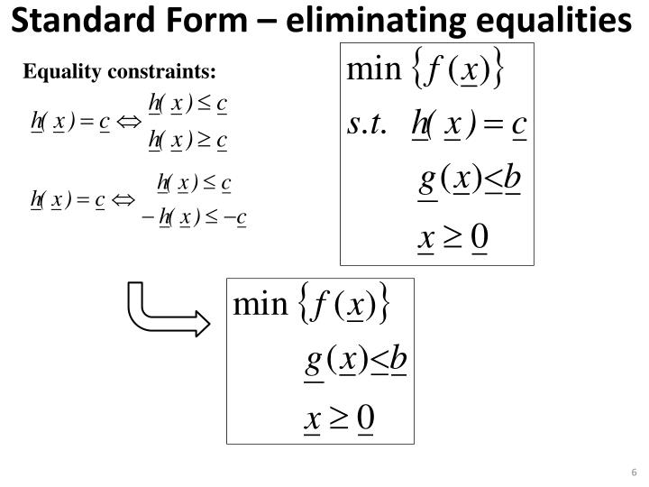 Equality constraints: