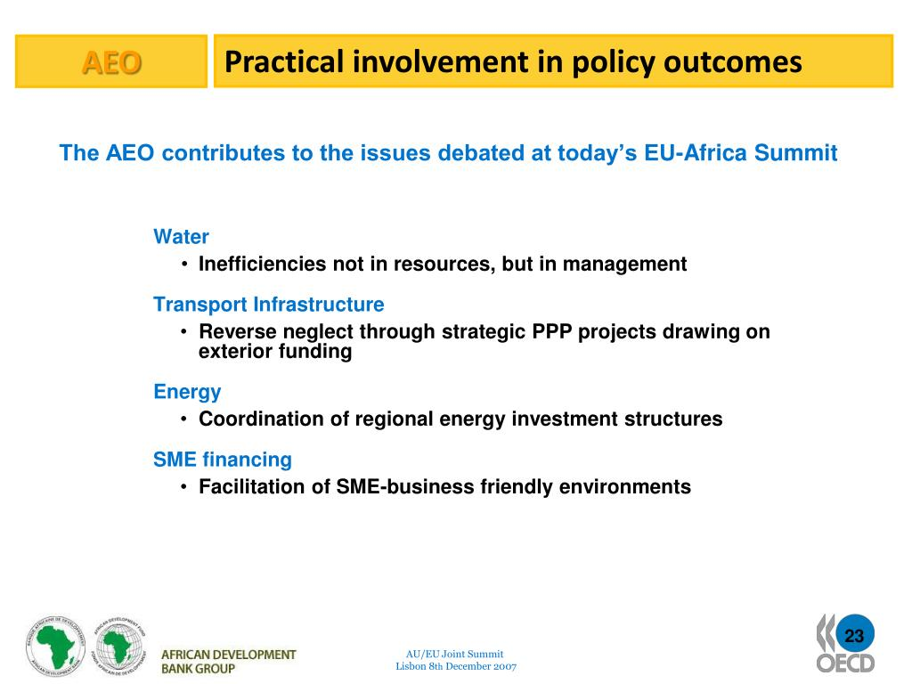 Practical involvement in policy outcomes