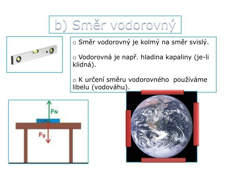 b) Směr vodorovný