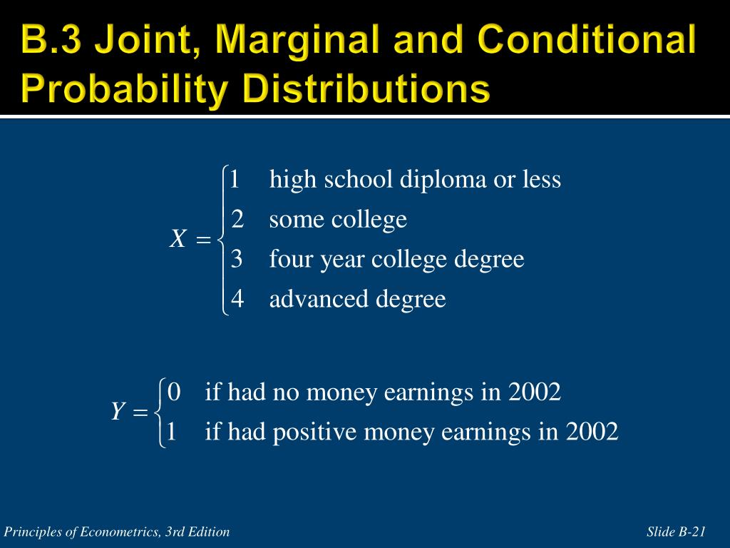 B.3 Joint, Marginal and Conditional Probability Distributions