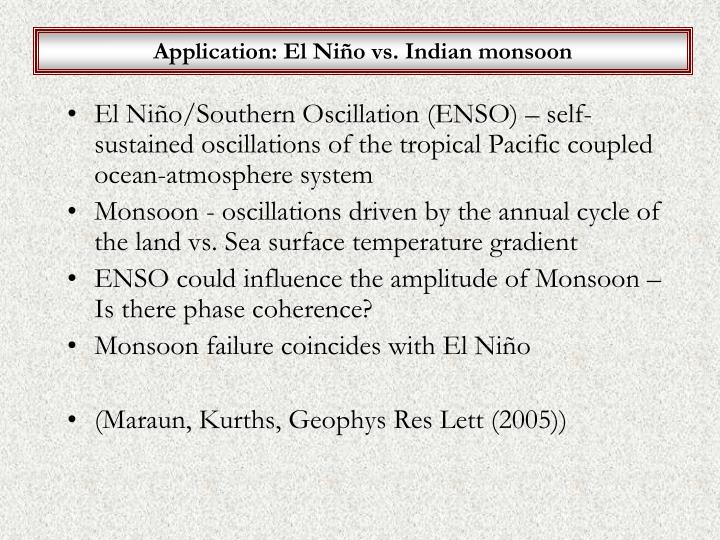 Application: El Niño vs. Indian monsoon