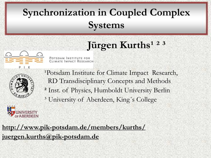 Synchronization in Coupled Complex Systems