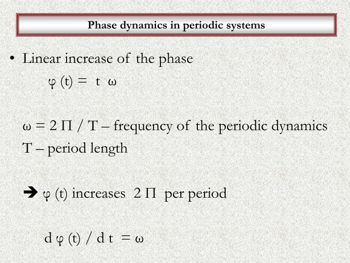 Phase dynamics in periodic systems