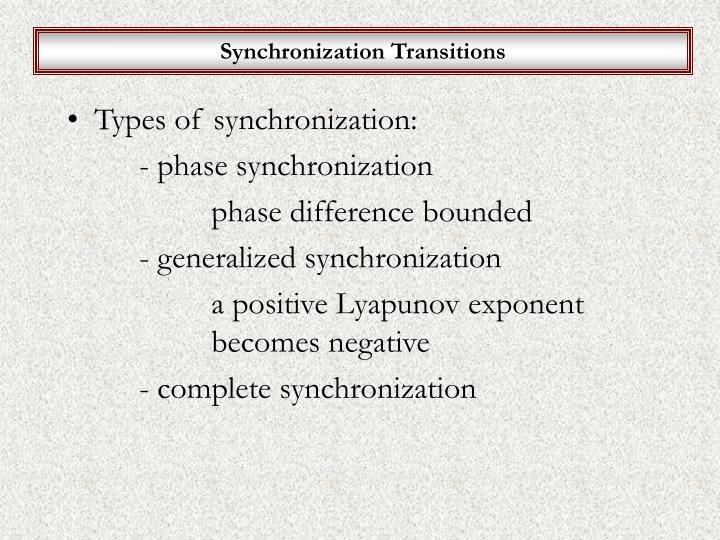 Synchronization Transitions
