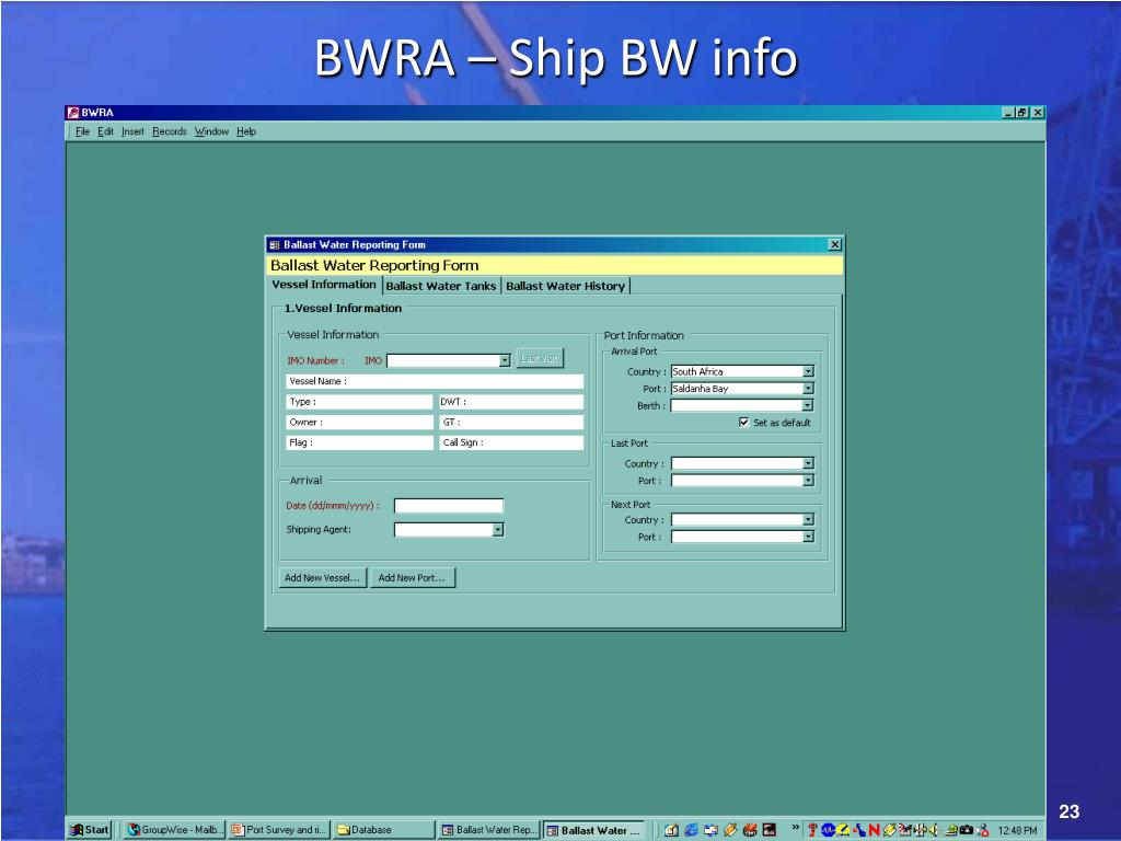 BWRA – Ship BW info