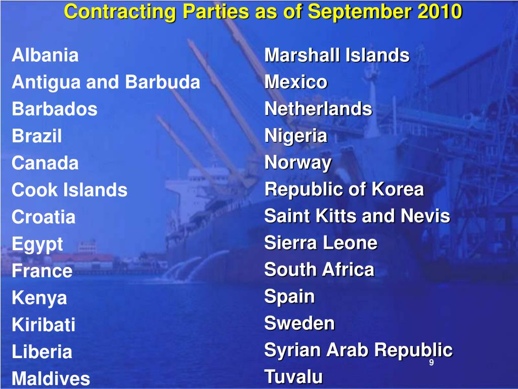 Contracting Parties as of September 2010
