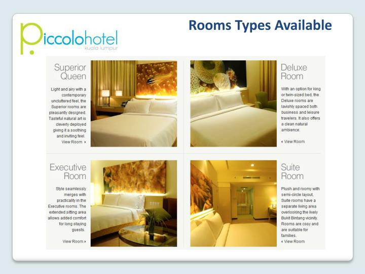 Rooms Types Available