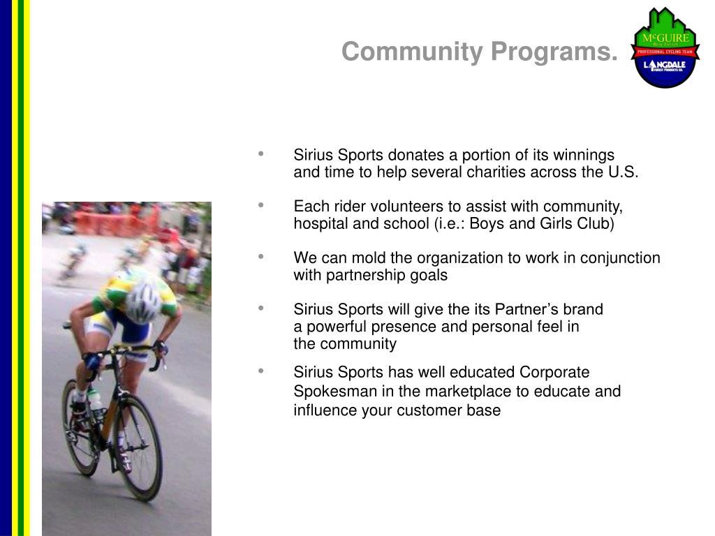 Community Programs.