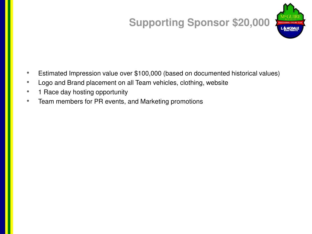 Supporting Sponsor $20,000