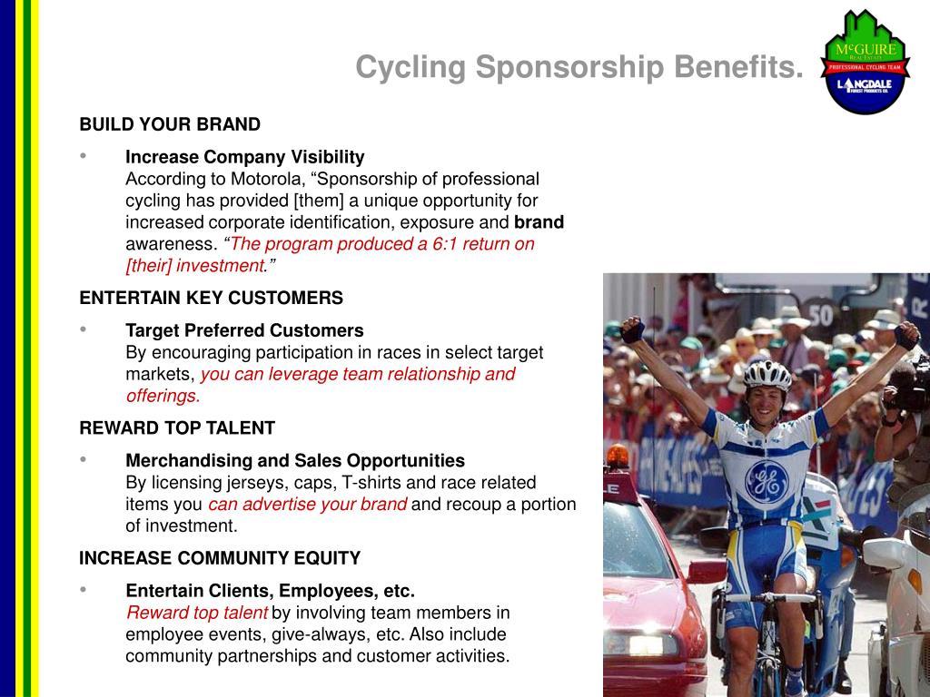 Cycling Sponsorship Benefits.