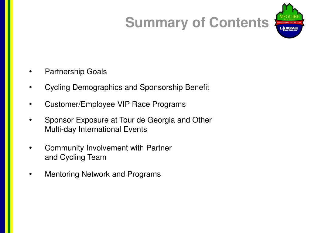 Summary of Contents