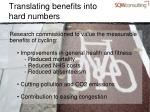 translating benefits into hard numbers