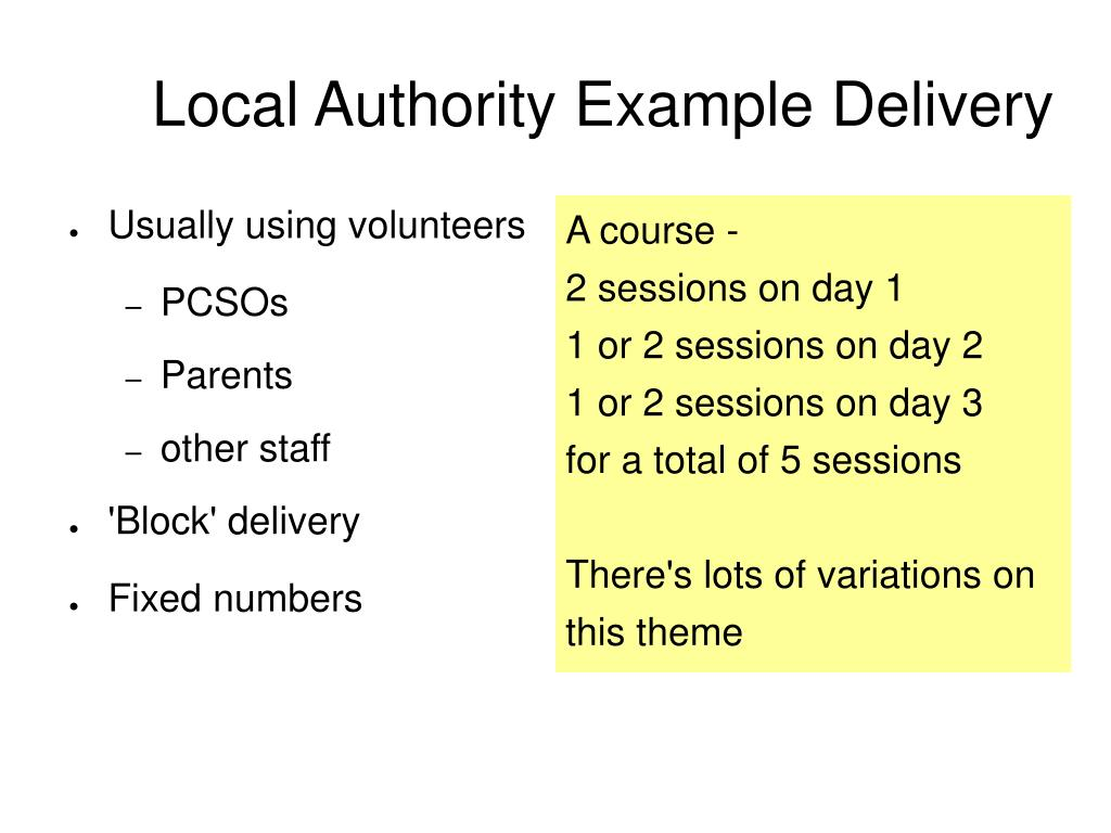 Local Authority Example Delivery
