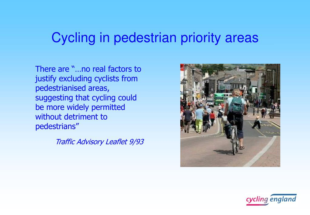 Cycling in pedestrian priority areas