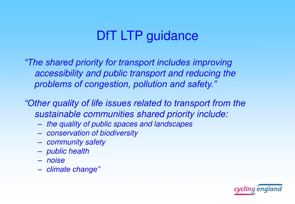 DfT LTP guidance