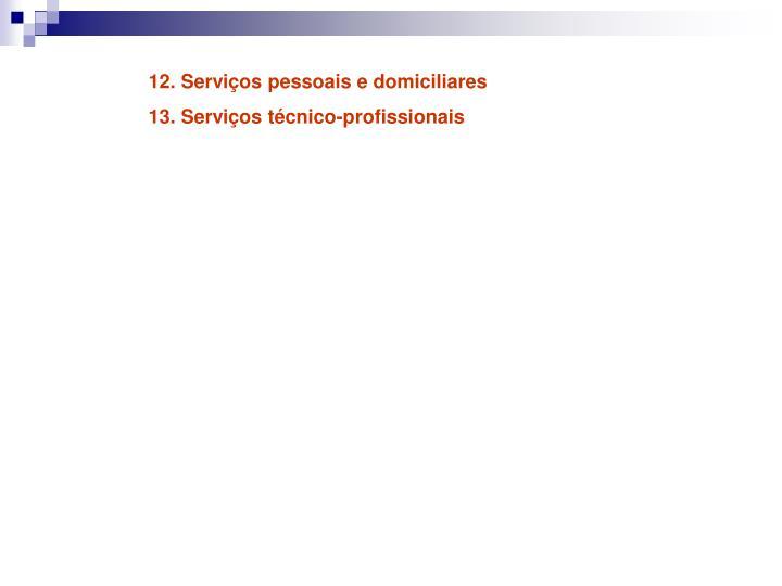 12. Serviços pessoais e domiciliares