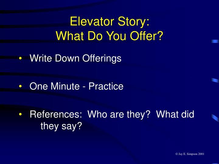 Elevator Story: