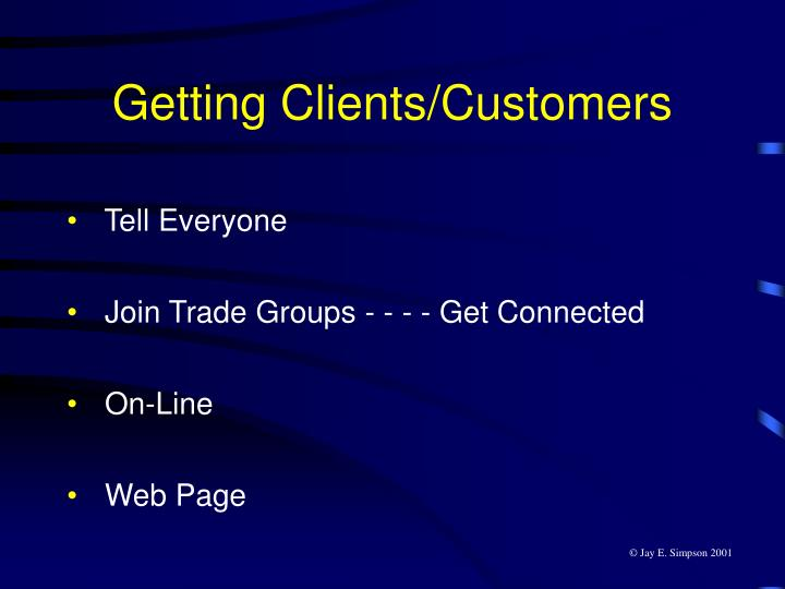 Getting Clients/Customers