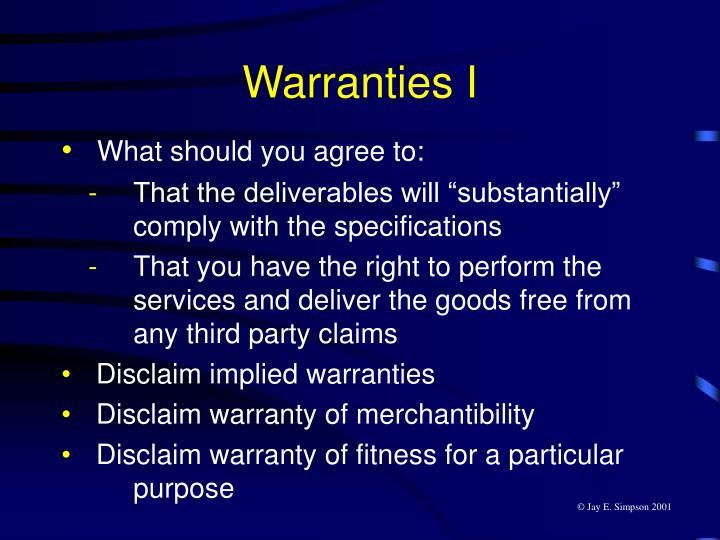 Warranties I