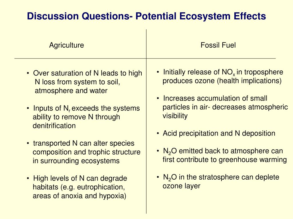 Discussion Questions- Potential Ecosystem Effects
