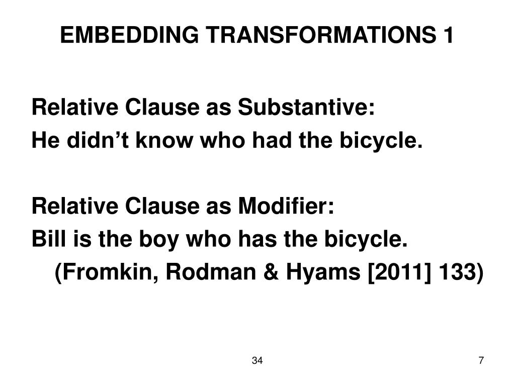 EMBEDDING TRANSFORMATIONS 1