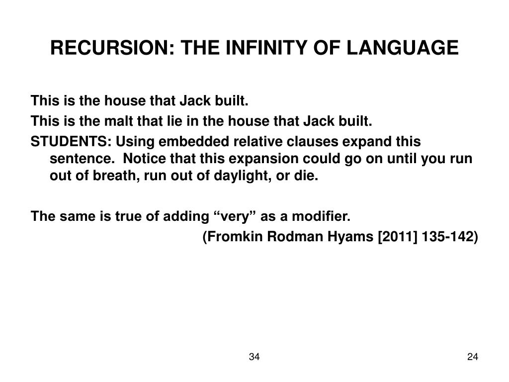 RECURSION: THE INFINITY OF LANGUAGE