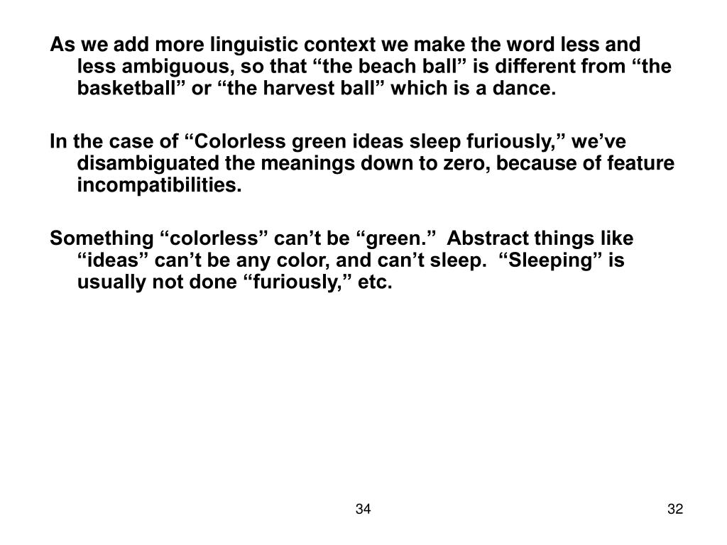 "As we add more linguistic context we make the word less and less ambiguous, so that ""the beach ball"" is different from ""the basketball"" or ""the harvest ball"" which is a dance."
