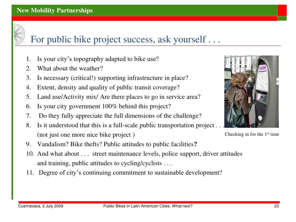 For public bike project success, ask yourself . . .