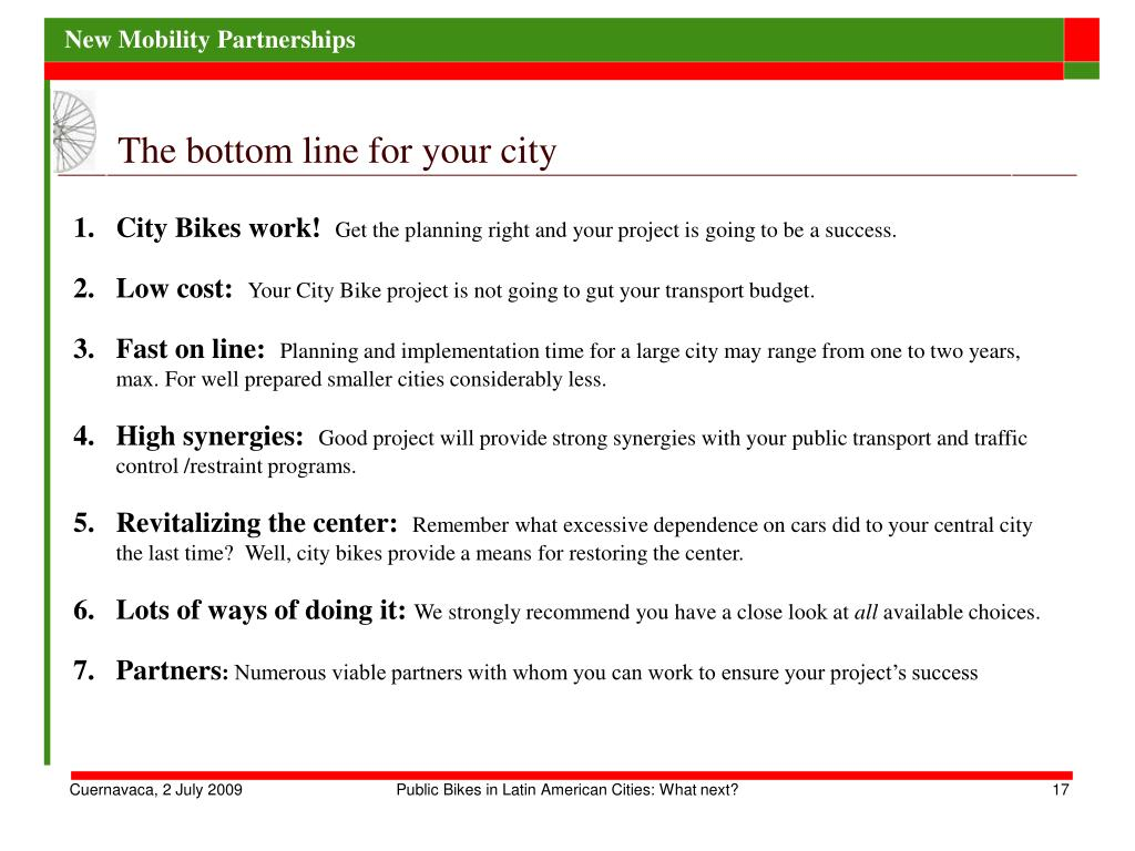 The bottom line for your city