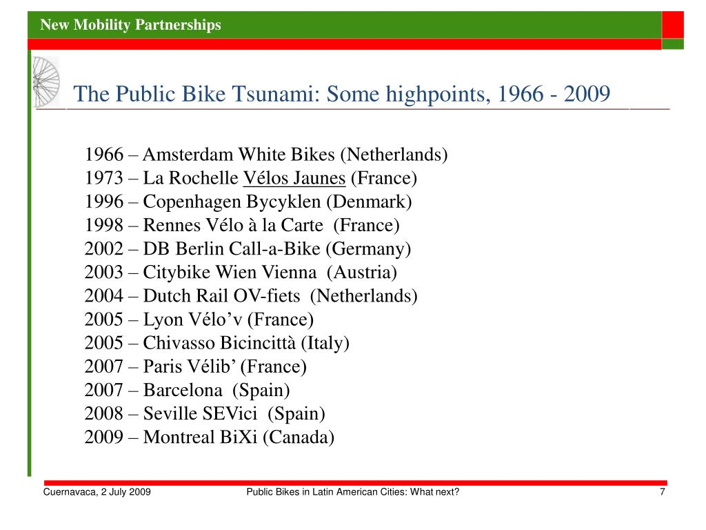 The Public Bike Tsunami: Some highpoints, 1966 - 2009